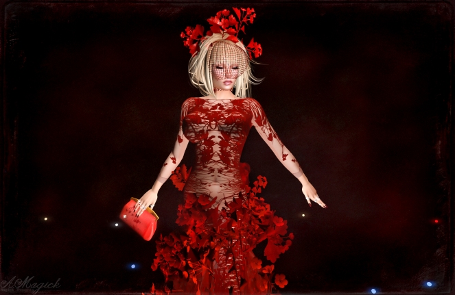 The Meadow in Red by Paris Metro Couture. Includes appliers for mesh bodies and system layers for classic bodies. Separates include: Headpiece, clutch purse and shoes. Find this at the Sydney PMC 3rd floor.
