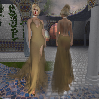 Paris METRO Couture_ Grand Entrance Gold Mesh Gown