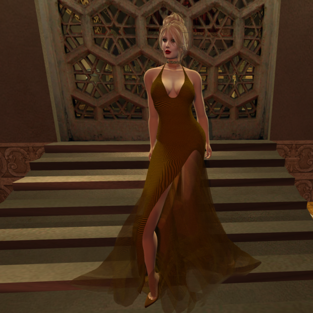 Paris METRO Couture_ Grand Entrance Gold Plate Mesh Gown