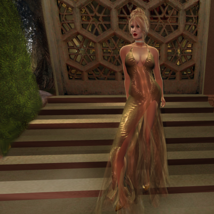 Paris METRO Couture_ Grand Entrance Gold Star Mesh Gown