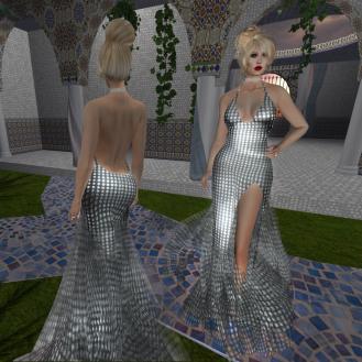 Paris METRO Couture_ Grand Entrance Silver Mesh Gown