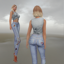 Paris METRO Couture_Butterfly Straight Leg Jeans & Bird CropTop