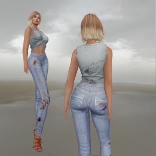 Paris METRO Couture_Butterfly Straight Leg Jeans & Bird CropTop