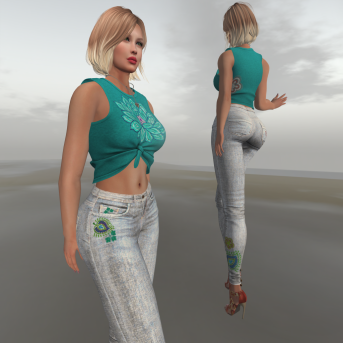 Paris METRO Couture_Paisley Straight Leg Jeans & Lotus CropTop