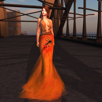 Paris METRO Couture_ V Biker Story Gown in Orange