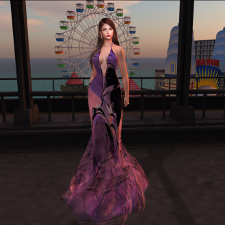 Paris METRO Couture_ V Biker Story Gown in Purple