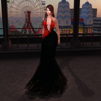 Paris METRO Couture_ V Biker Story Gown in Red Sky