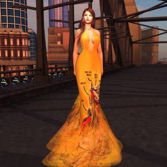 Paris METRO Couture_ V Biker Story Gown in Yellow