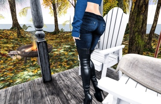 Turtleneck, Jeans and Thigh high boots