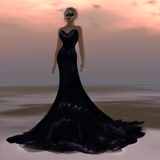 Paris METRO Couture_ Black Bat Leather Gown with Mask