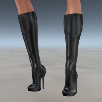 Paris METRO Couture_ Knee High Black Mesh Boots