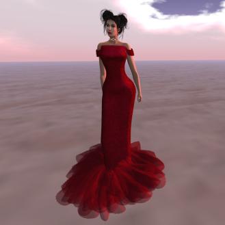 Paris METRO Couture_ Off Shoulder Dress-Red Mesh