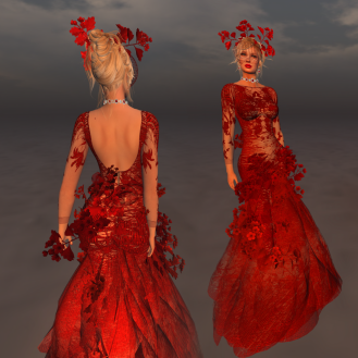 Paris METRO Couture_ The Meadow Gown with Appliers in Red