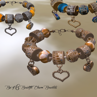 Paris METRO Couture_ Box of 6 Beautiful Charm Bracelets