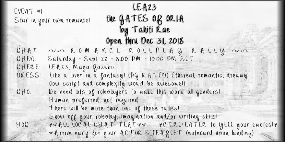 LEA23 - GATES OF ORIA - EVENT #1 - ROMANCE ROLEPLAY RALLY